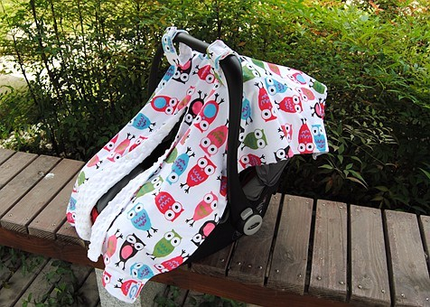 13 Off Lovely Owl Cartoon Print Infant Car Seat Cover With Front Open