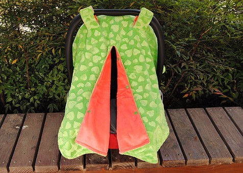 High Quality Cuddle Soft Portable Security Minky Baby Girl Car Seat Cover Lime